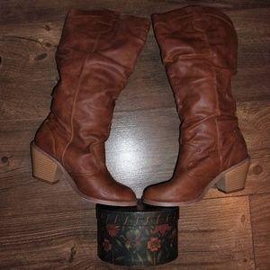 brown 7 tan woman calf boots cowboy lady shoes